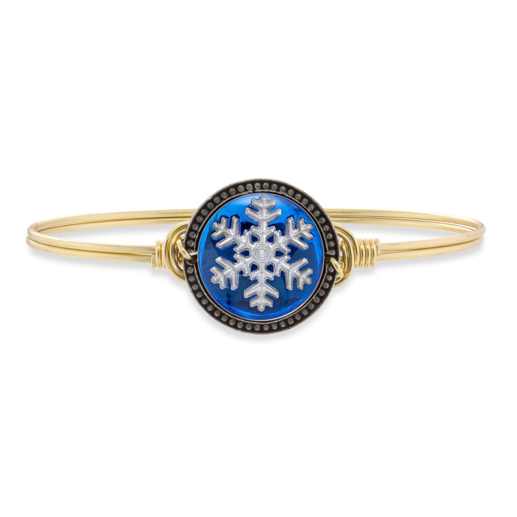 Snowflake Intaglio Bangle Bracelet finish:Brass Tone