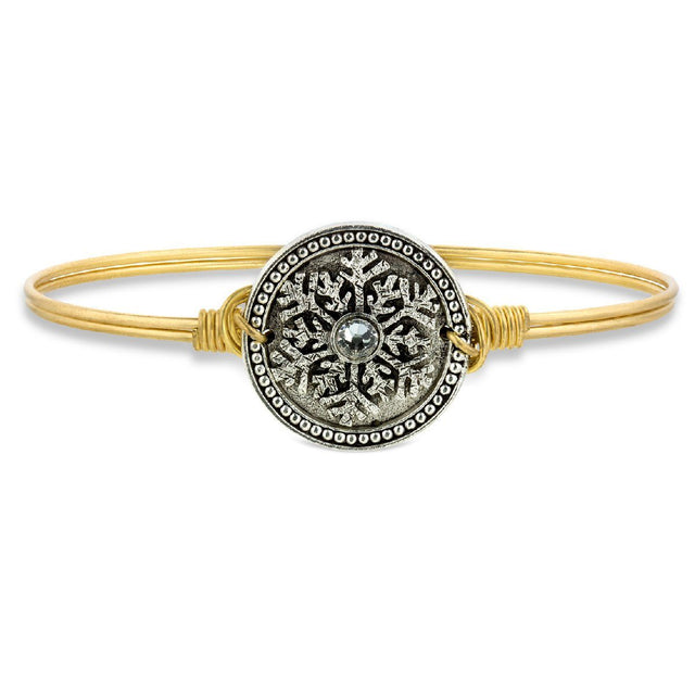 Snowflake Bangle Bracelet finish:Brass Tone