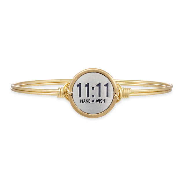 11:11 Make A Wish Bangle Bracelet choose finish:Brass Tone
