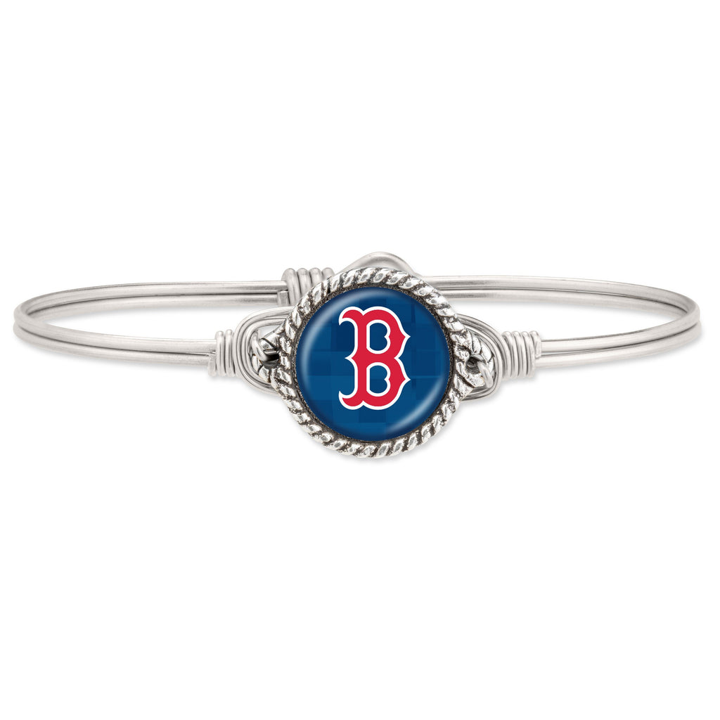 Boston Red Sox Bangle Bracelet-Bangle Bracelet-Regular-finish:Silver Tone-Luca + Danni