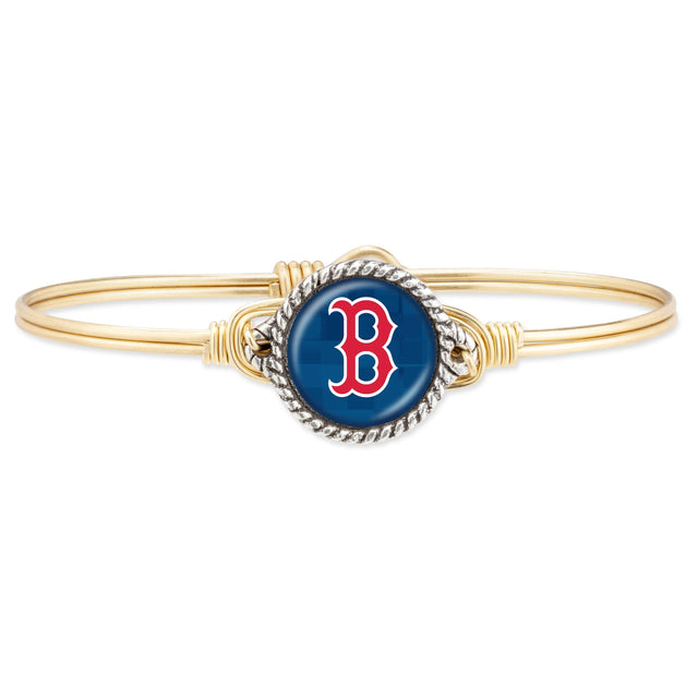 Boston Red Sox Bangle Bracelet-Bangle Bracelet-Regular-finish:Brass Tone-Luca + Danni