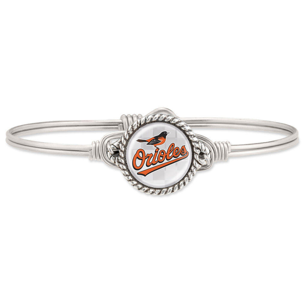 Baltimore Orioles Bangle Bracelet-Bangle Bracelet-Regular-finish:Silver Tone-Luca + Danni