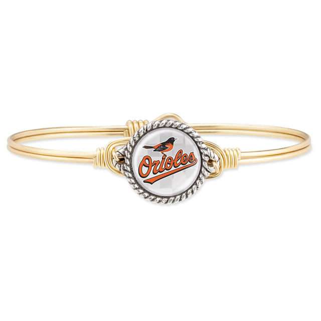 Baltimore Orioles Bangle Bracelet-Bangle Bracelet-Regular-finish:Brass Tone-Luca + Danni