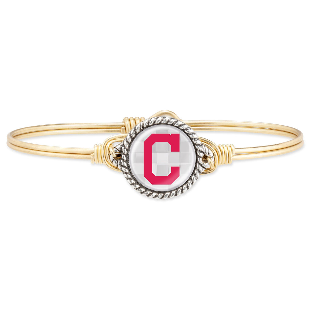 Cleveland Indians Bangle Bracelet-Bangle Bracelet-Regular-finish:Brass Tone-Luca + Danni
