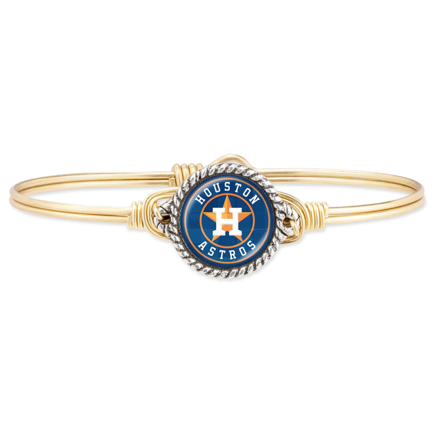 Houston Astros Bangle Bracelet-Bangle Bracelet-Regular-finish:Brass Tone-Luca + Danni