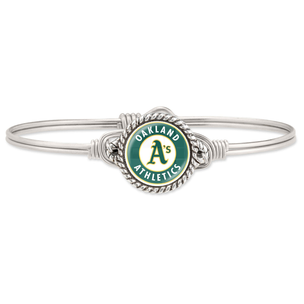 Oakland Athletics Bangle Bracelet-Bangle Bracelet-Regular-finish:Silver Tone-Luca + Danni