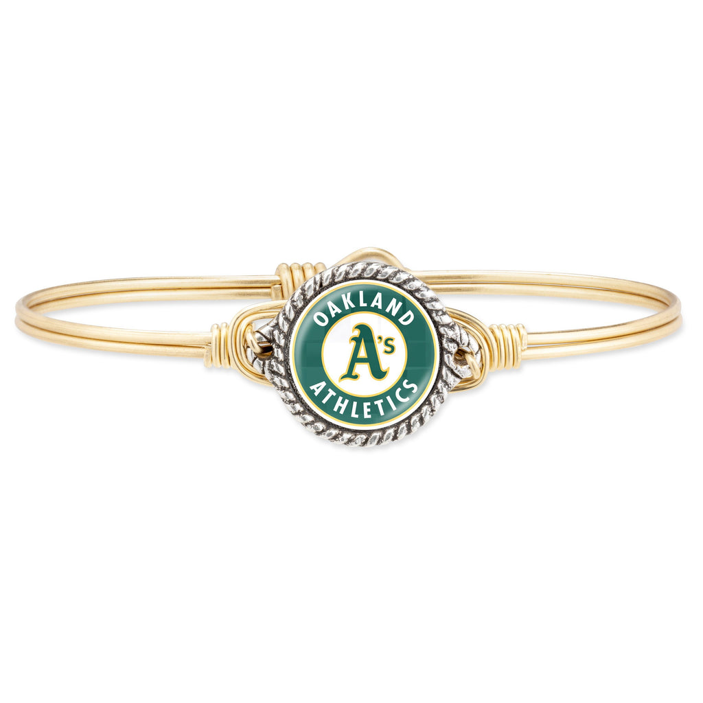 Oakland Athletics Bangle Bracelet-Bangle Bracelet-Regular-finish:Brass Tone-Luca + Danni