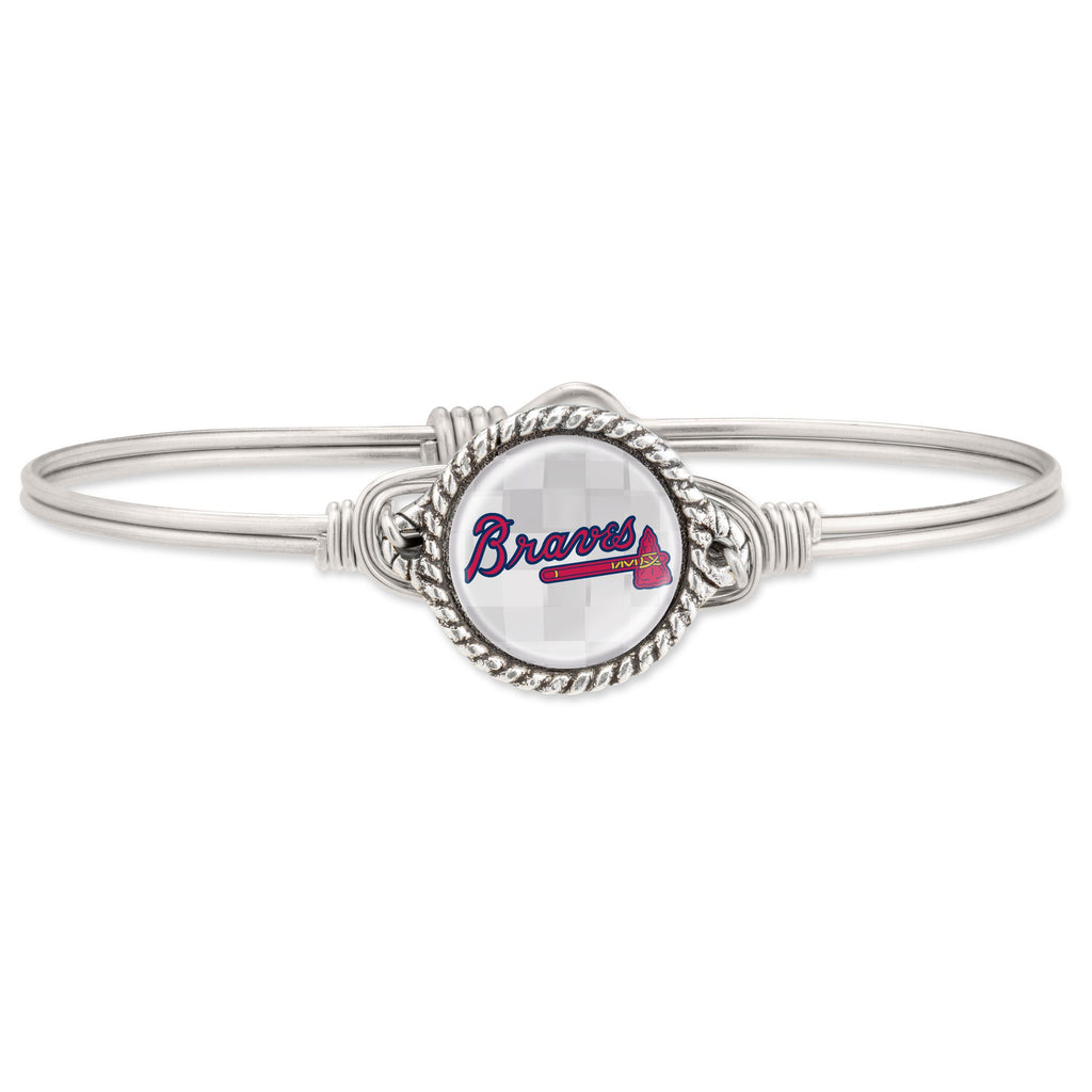 Atlanta Braves Bangle Bracelet-Bangle Bracelet-Regular-finish:Silver Tone-Luca + Danni