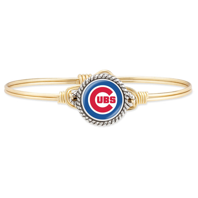 Chicago Cubs Bangle Bracelet-Bangle Bracelet-Regular-finish:Brass Tone-Luca + Danni