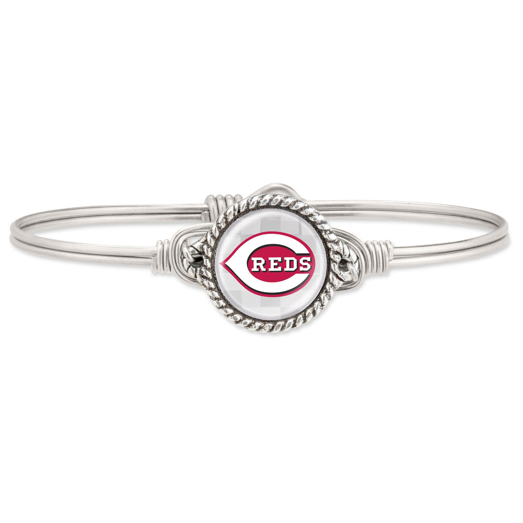 Cincinnati Reds Bangle Bracelet choose finish:Silver Tone