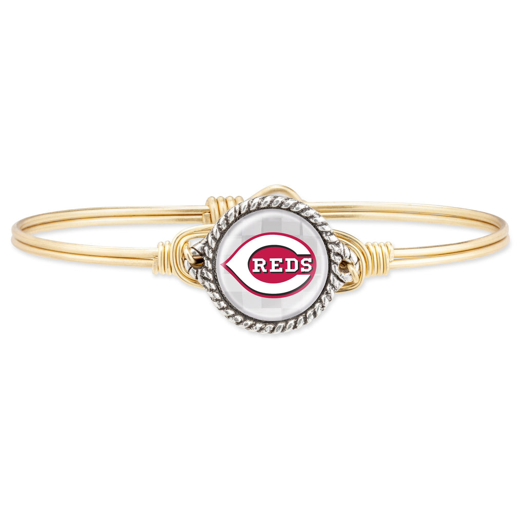 Cincinnati Reds Bangle Bracelet choose finish:Brass Tone