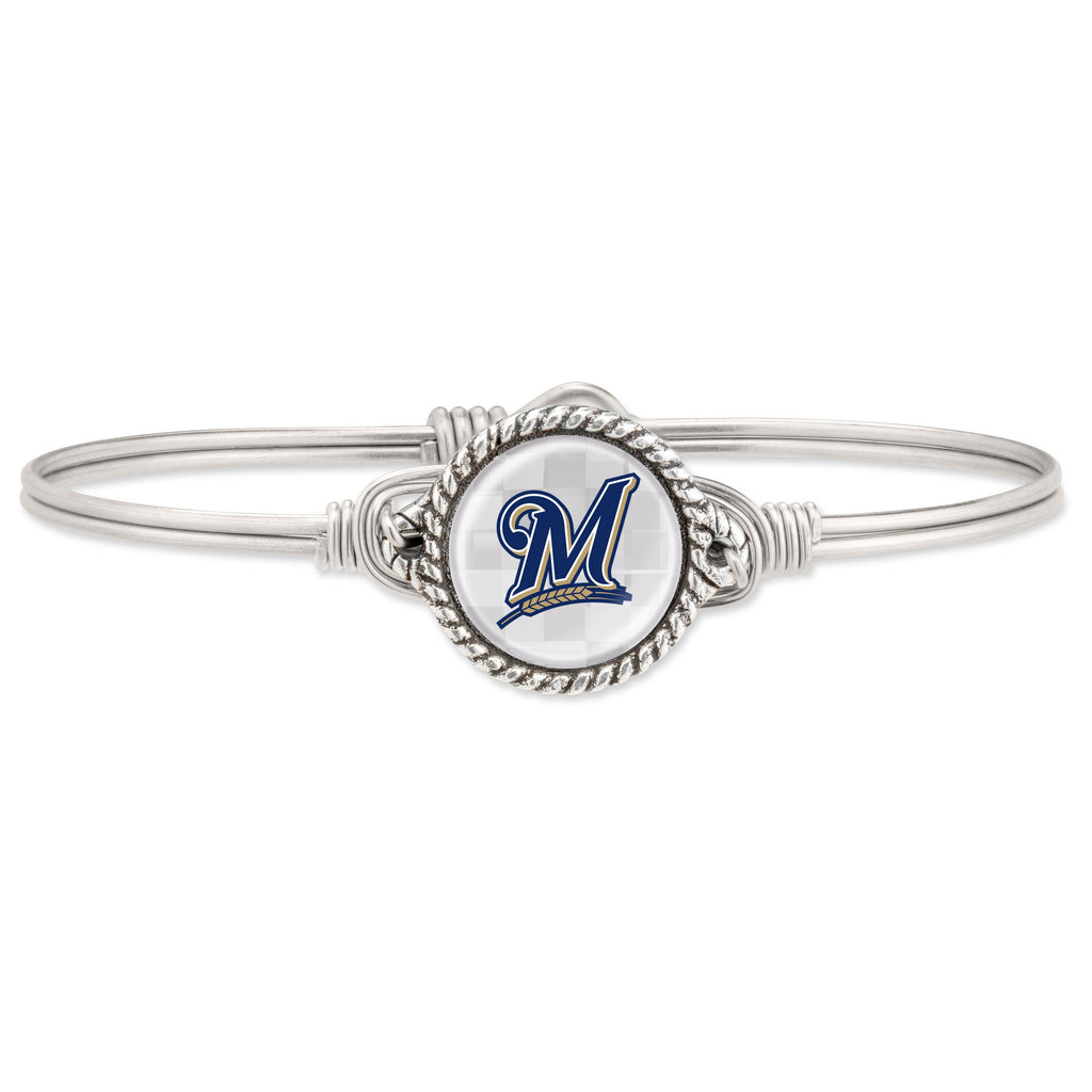 Milwaukee Brewers Bangle Bracelet-Bangle Bracelet-Regular-finish:Silver Tone-Luca + Danni