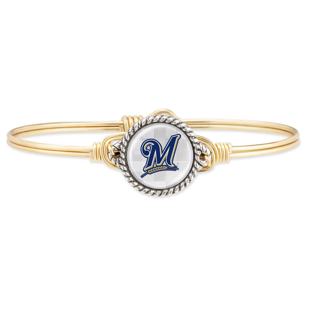 Milwaukee Brewers Bangle Bracelet-Bangle Bracelet-Regular-finish:Brass Tone-Luca + Danni