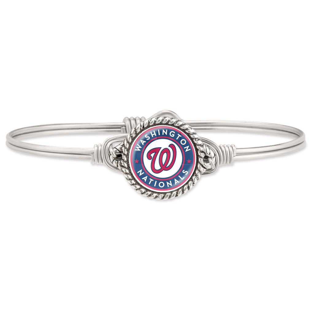 Washington Nationals Bangle Bracelet-Bangle Bracelet-Regular-finish:Silver Tone-Luca + Danni