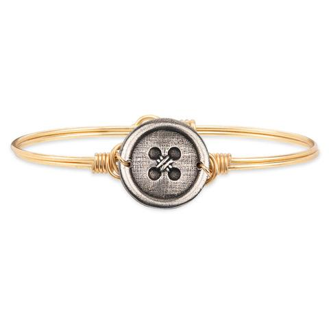 Cute as a Button Bangle Bracelet finish:Brass Tone