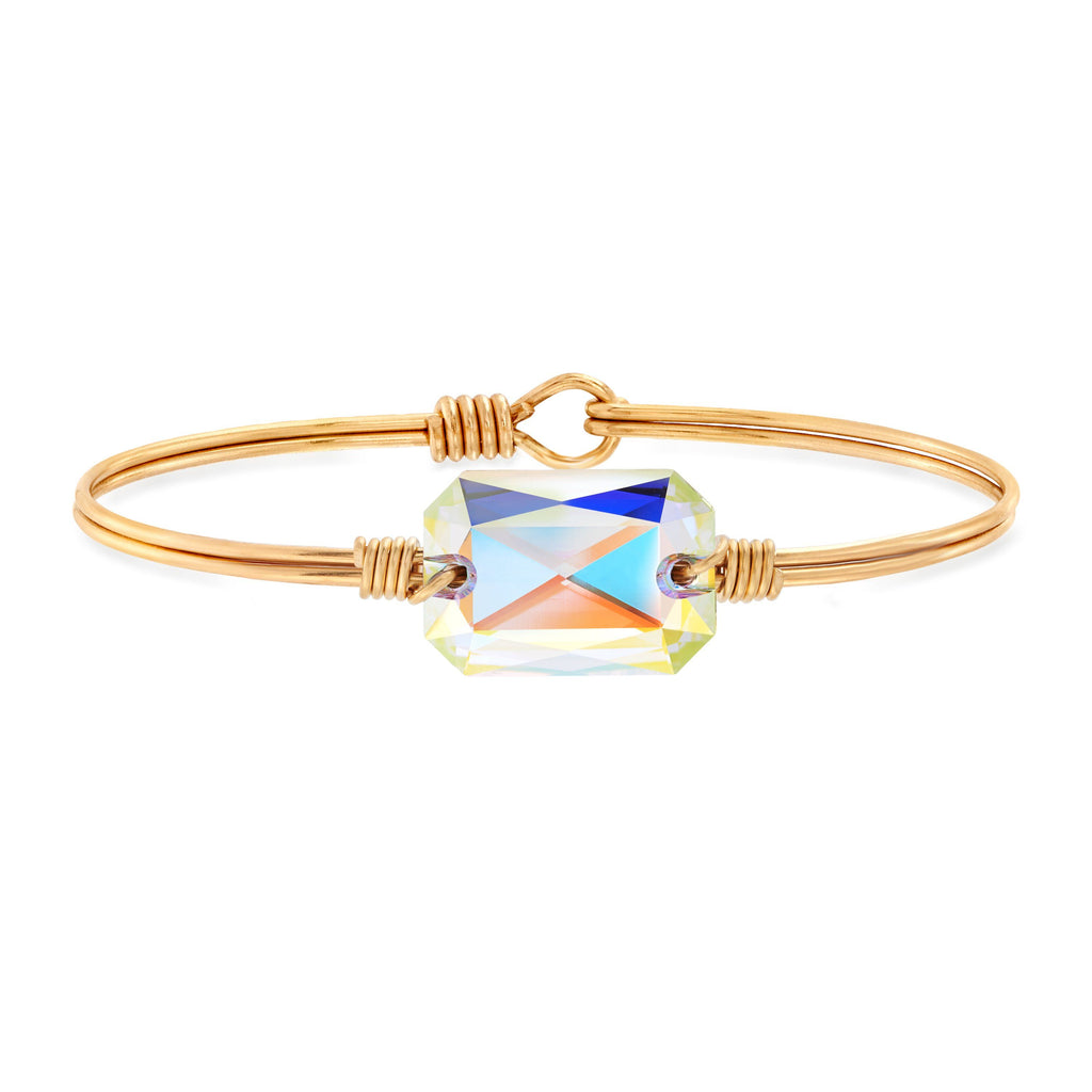 Dylan Bangle Bracelet in Aurora Borealis choose finish:Brass Tone