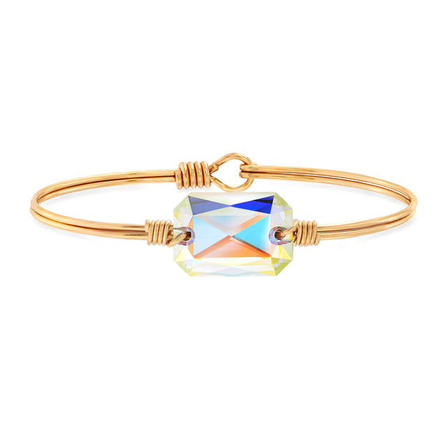 Dylan Bangle Bracelet in Aurora Borealis finish:Brass Tone
