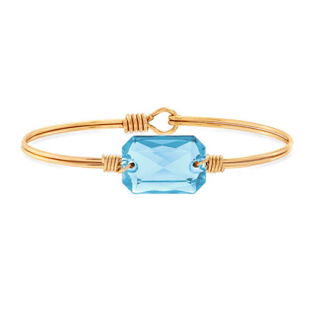 Dylan Bangle Bracelet in Aquamarine finish:Brass Tone