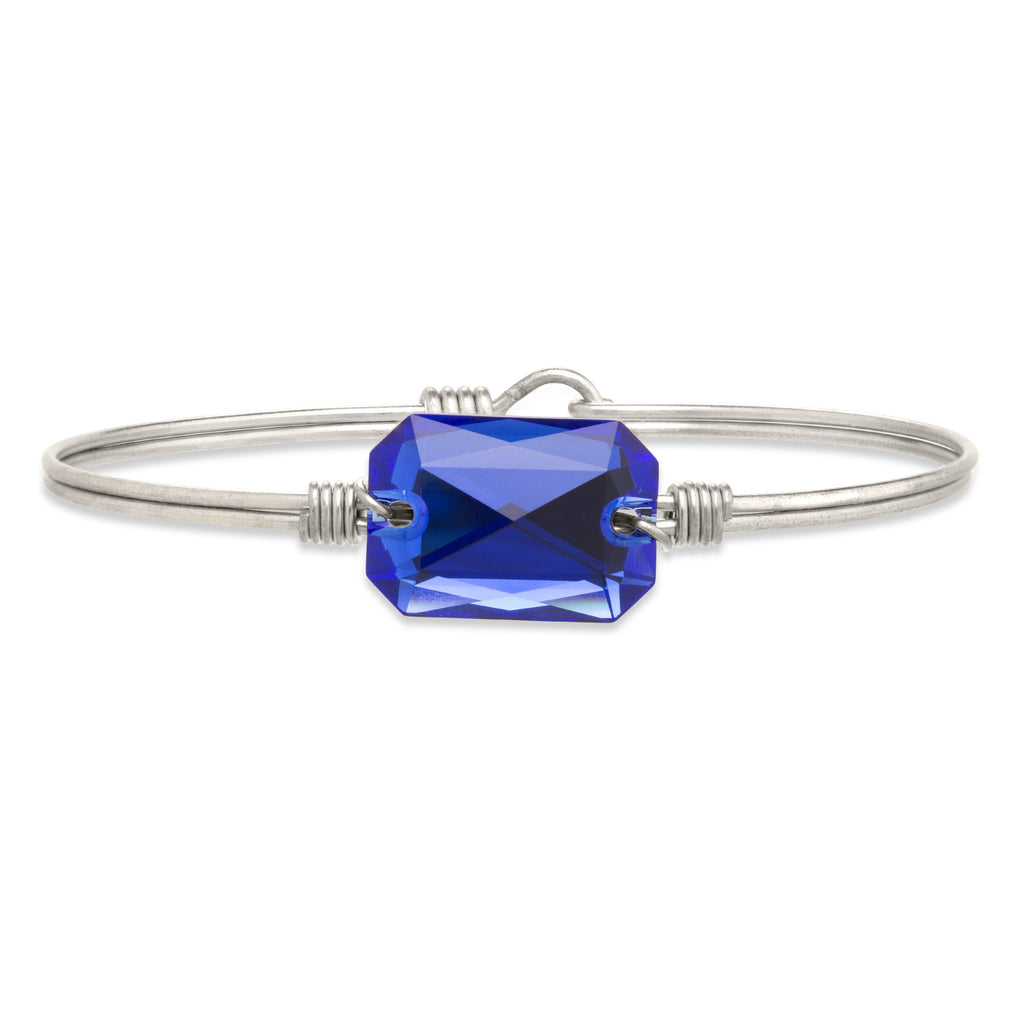 Dylan Bangle Bracelet in Majestic Blue finish:Silver Tone