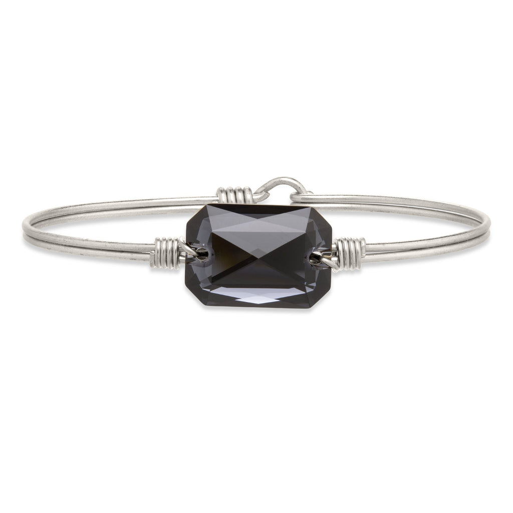Dylan Bangle Bracelet in Graphite finish:Silver Tone