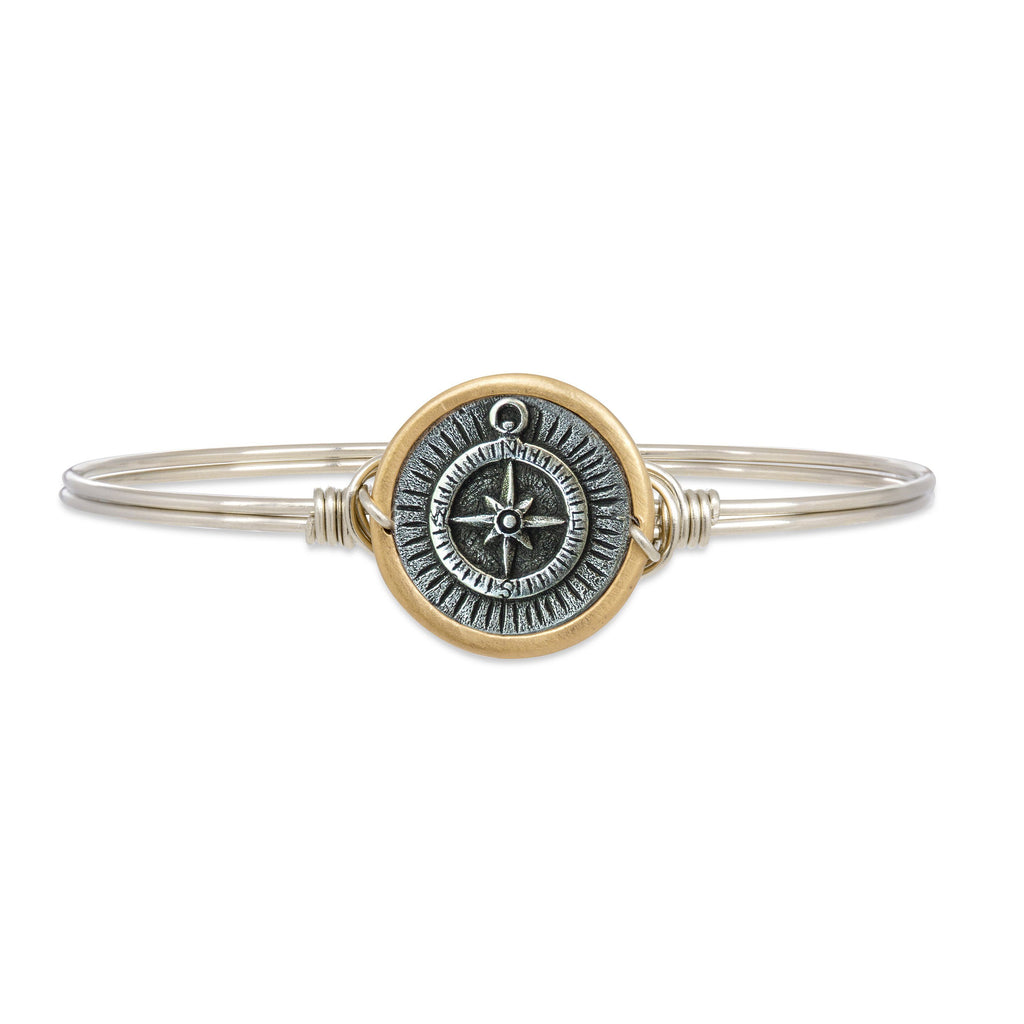 Compass Bangle Bracelet finish:Silver Tone