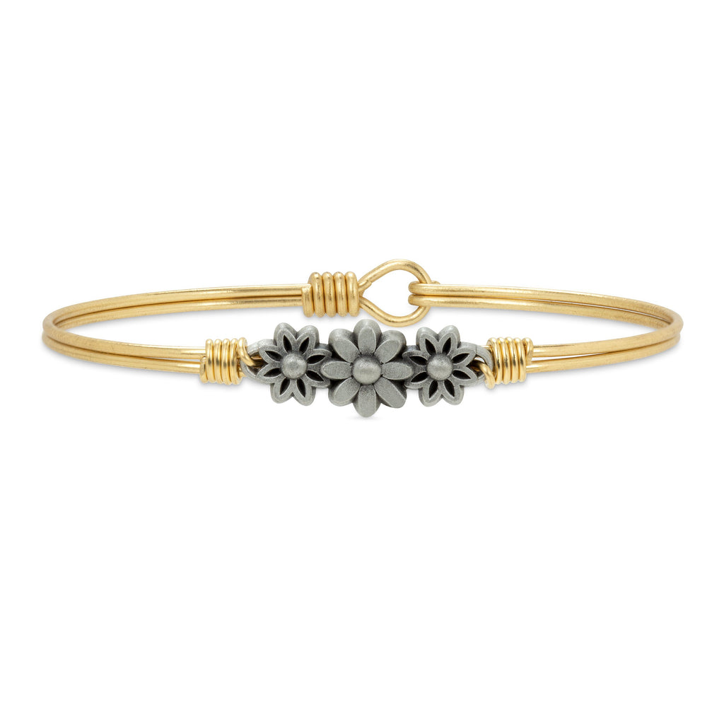 Daisy Bangle Bracelet finish:Brass Tone