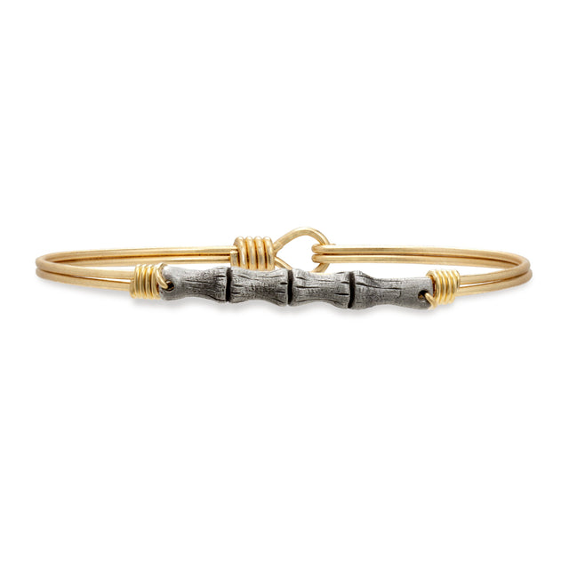 Bamboo Bangle Bracelet finish:Brass Tone