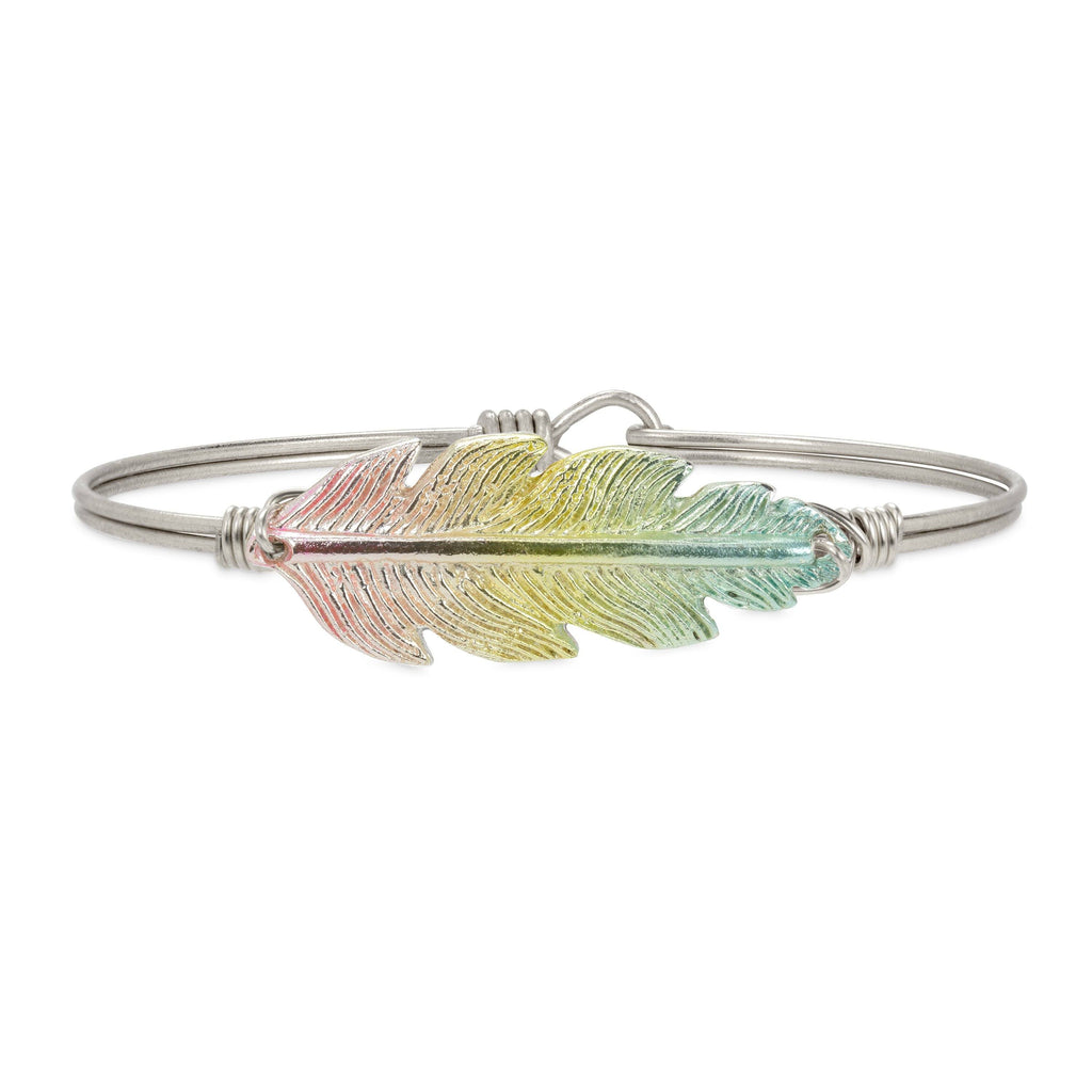 Lucky Feather Bangle Bracelet in Rainbow finish:Silver Tone