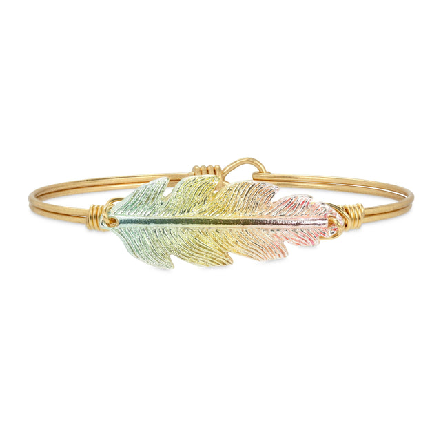 Lucky Feather Bangle Bracelet in Rainbow finish:Brass Tone