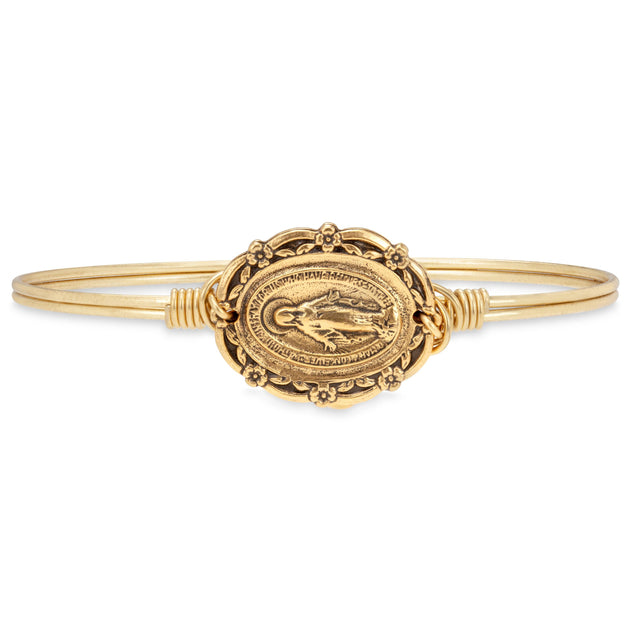 Mother Mary Bangle Bracelet in Rustic Gold