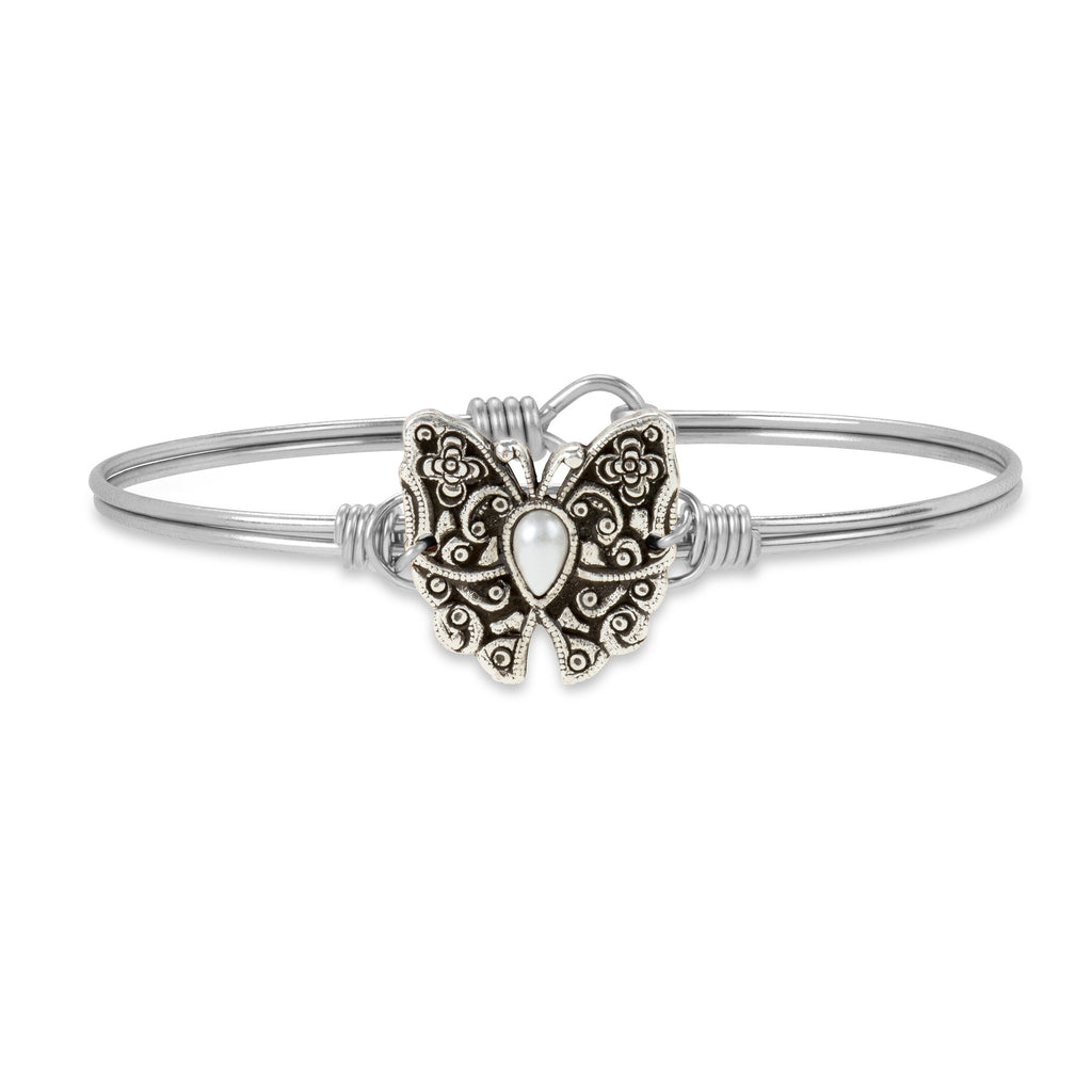 Butterfly Bangle Bracelet choose finish:Silver Tone