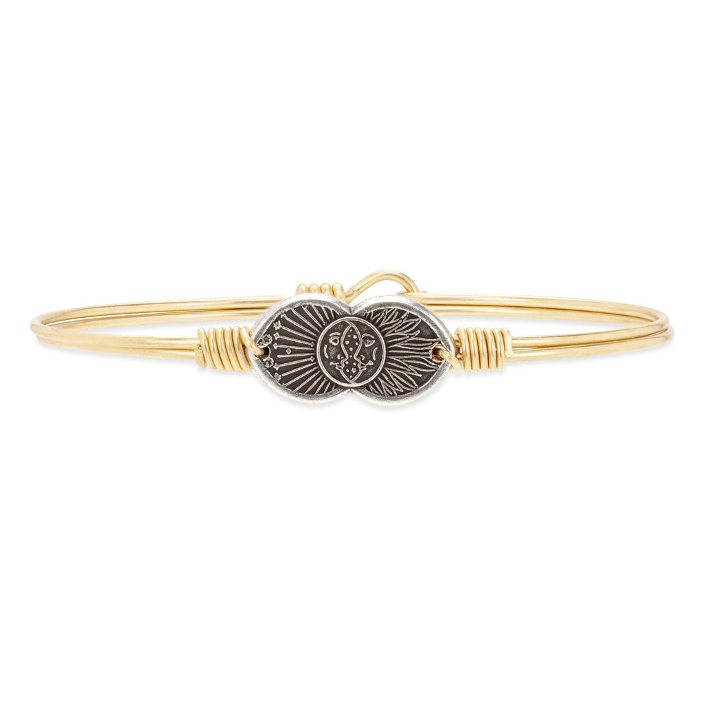 Celestial Love Bangle Bracelet choose finish:Brass Tone
