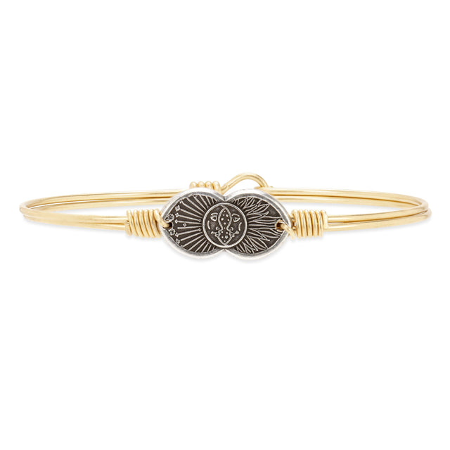 Celestial Love Bangle Bracelet finish:Brass Tone