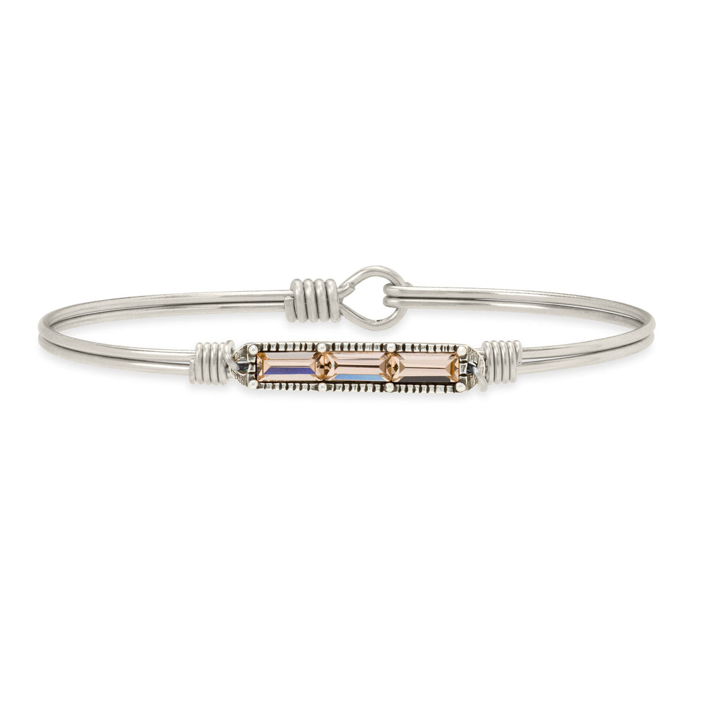 Mini Hudson Bangle Bracelet in Peach finish:Silver Tone