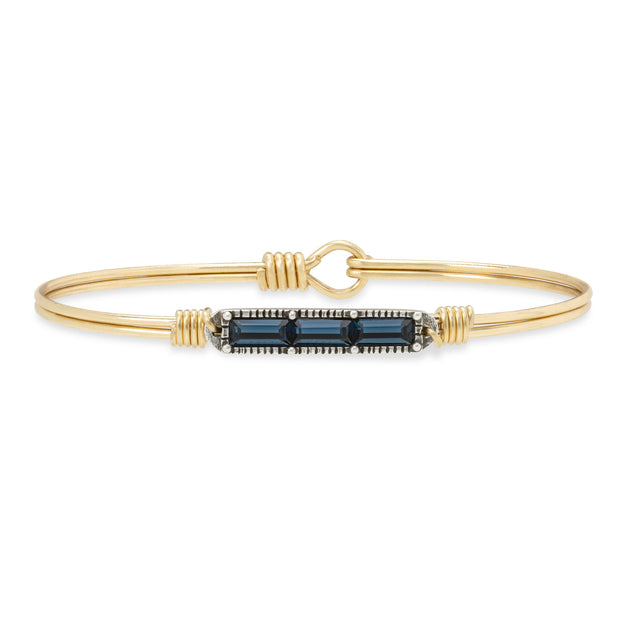 Mini Hudson Bangle Bracelet in Montana Blue finish:Brass Tone