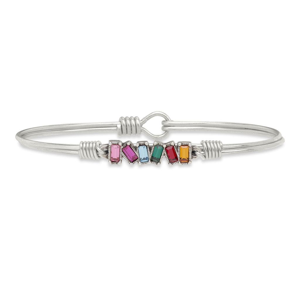Mini Hudson Bangle Bracelet in Ombre finish:Silver Tone