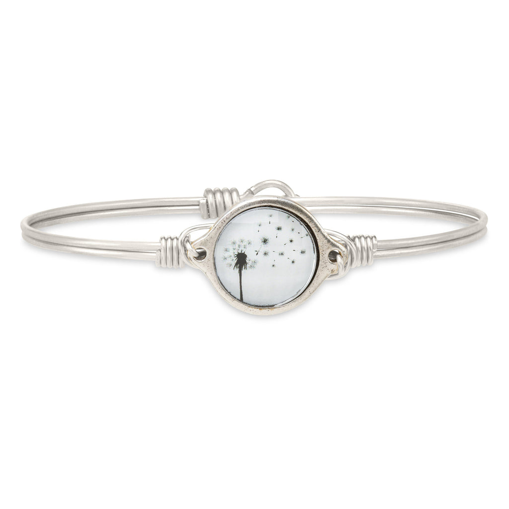 Dandelion Bangle Bracelet finish:Silver Tone