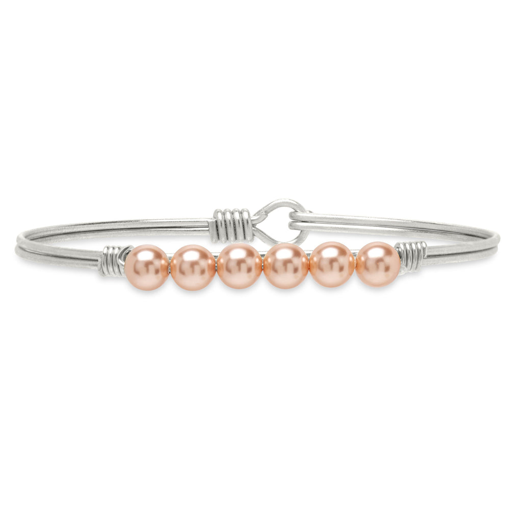 Crystal Pearl Bangle Bracelet in Peach finish:Silver Tone