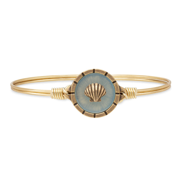 Shell Isla Bangle Bracelet finish:Brass Tone