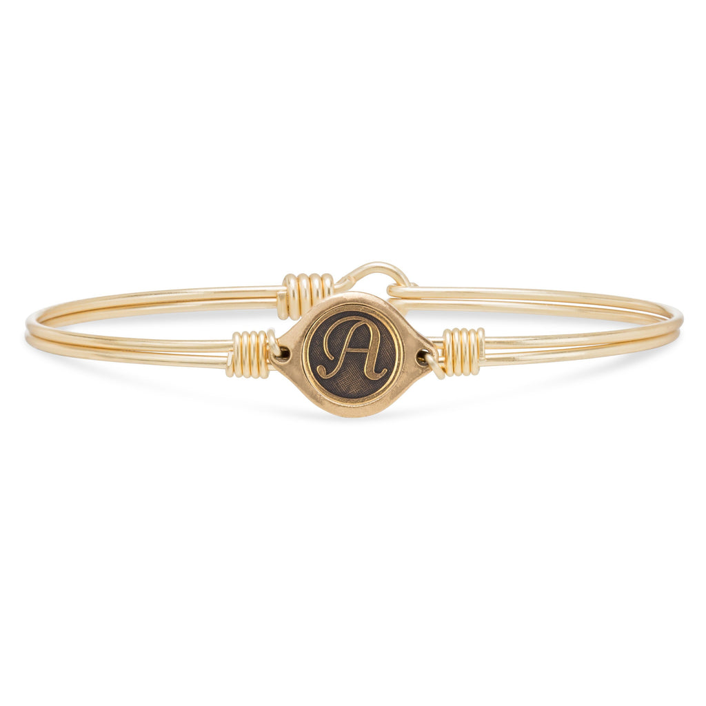 A Initial Bangle Bracelet choose finish:Brass Tone