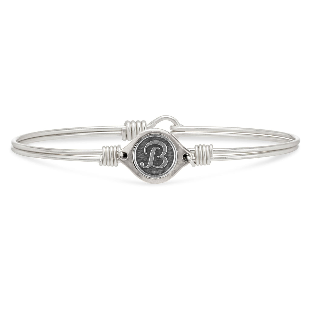 B Initial Bangle Bracelet choose finish:Silver Tone