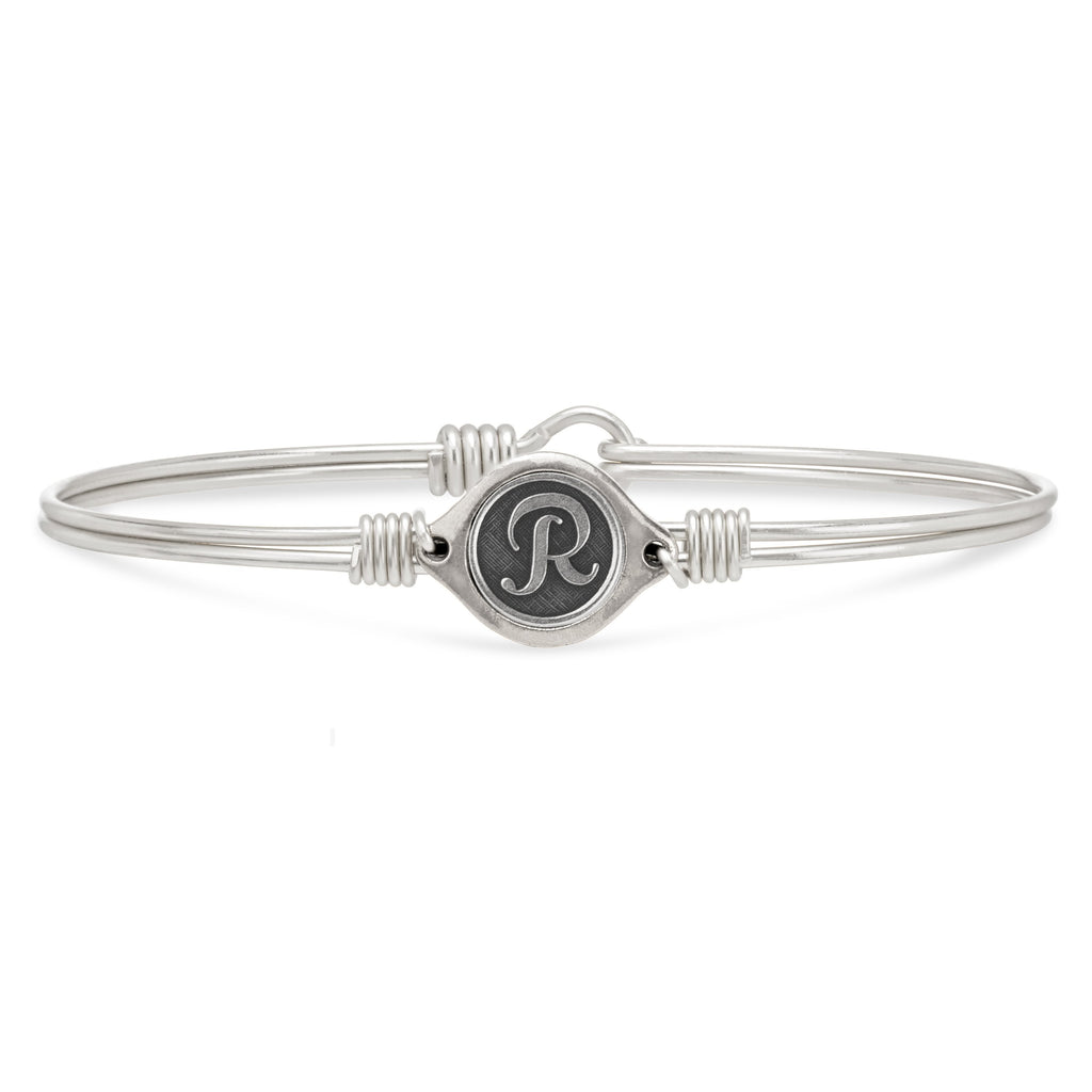 R Initial Bangle Bracelet finish:Silver Tone