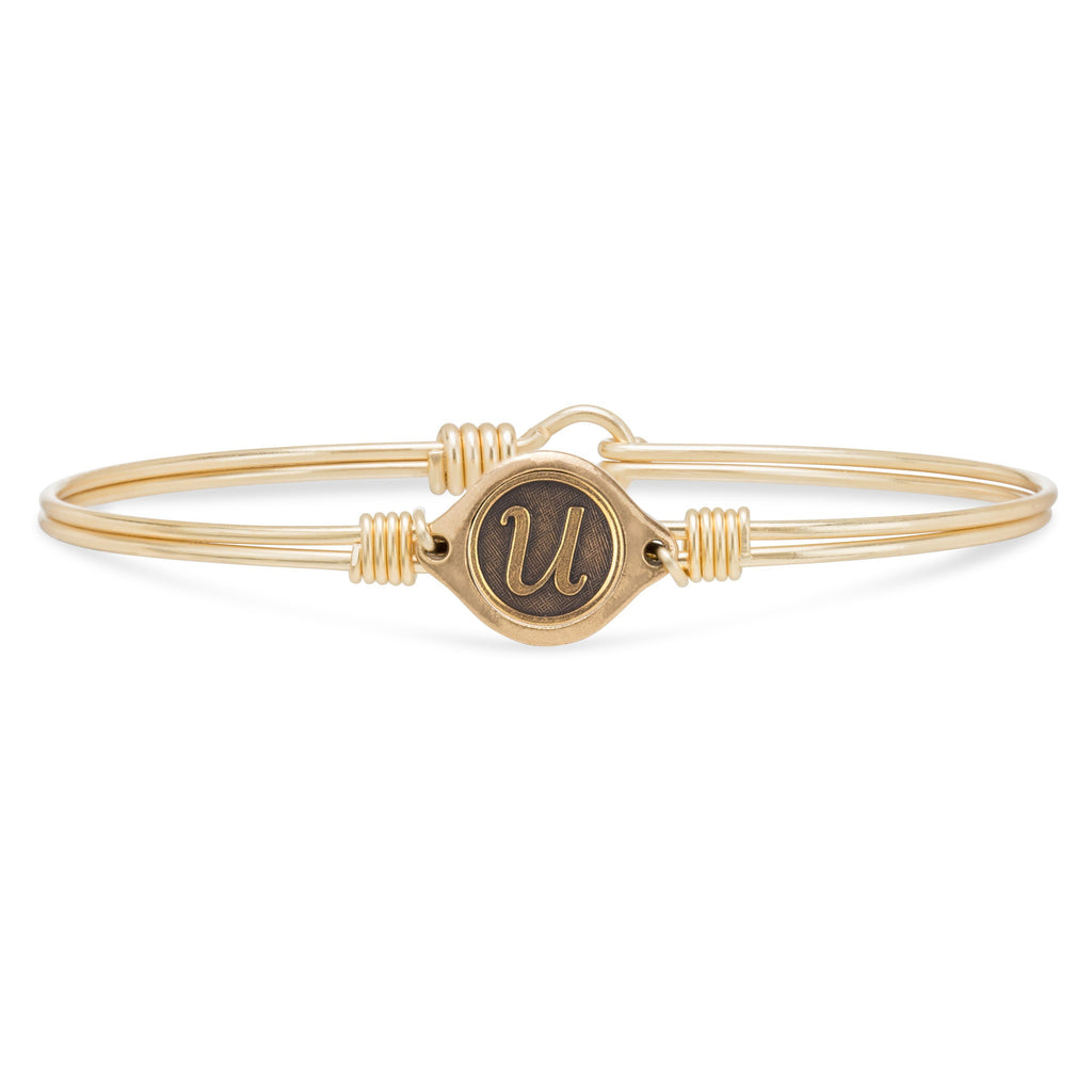 U Initial Bangle Bracelet finish:Brass Tone