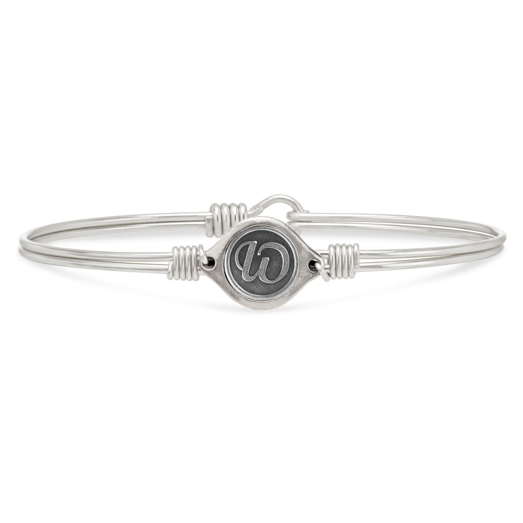W Initial Bangle Bracelet finish:Silver Tone