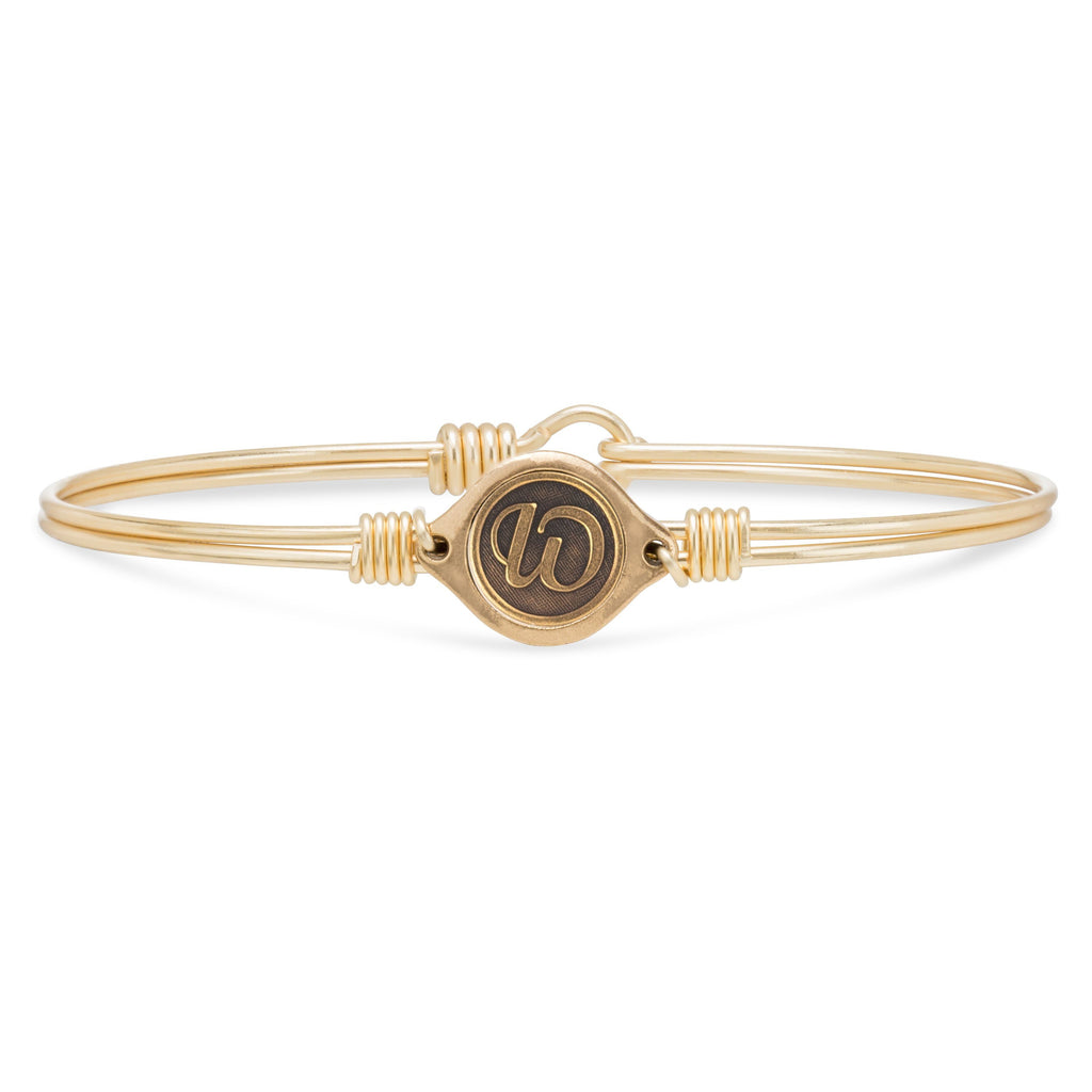W Initial Bangle Bracelet finish:Brass Tone