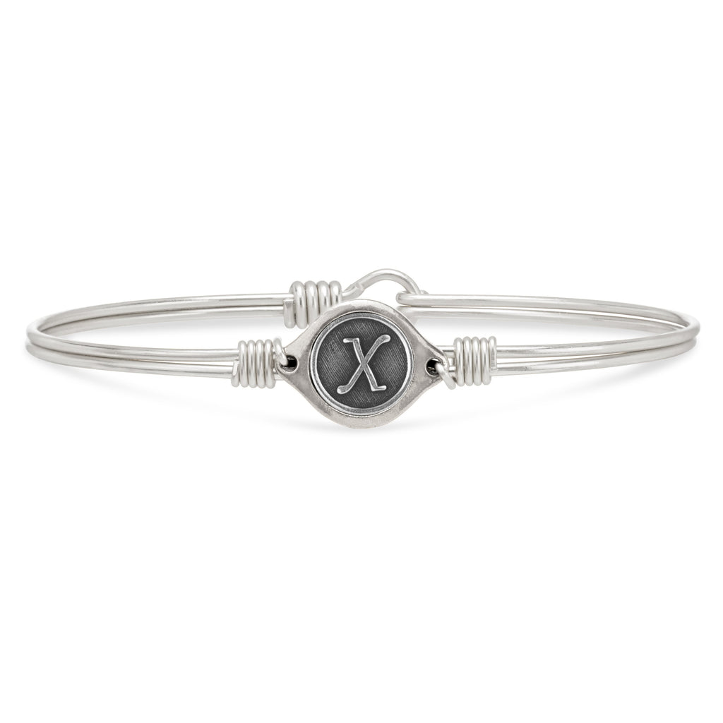 X Initial Bangle Bracelet finish:Silver Tone