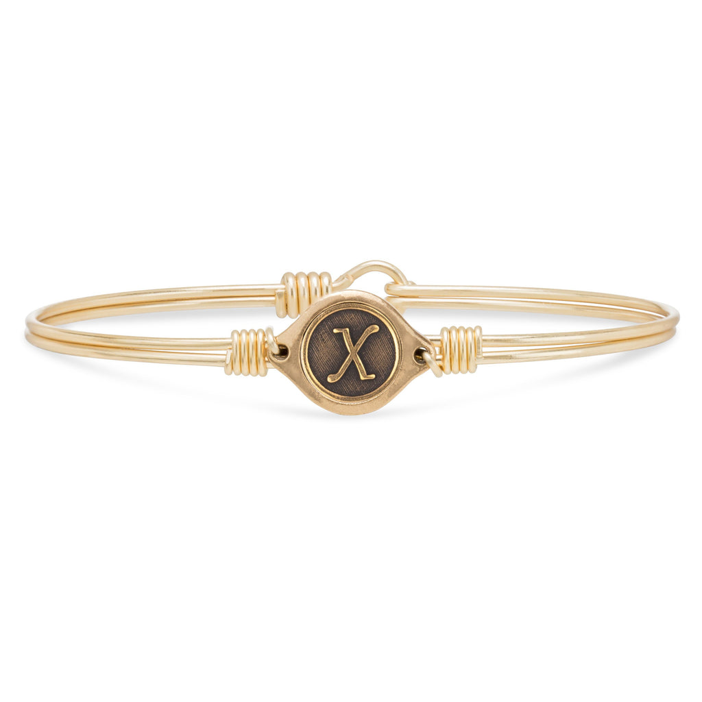 X Initial Bangle Bracelet finish:Brass Tone