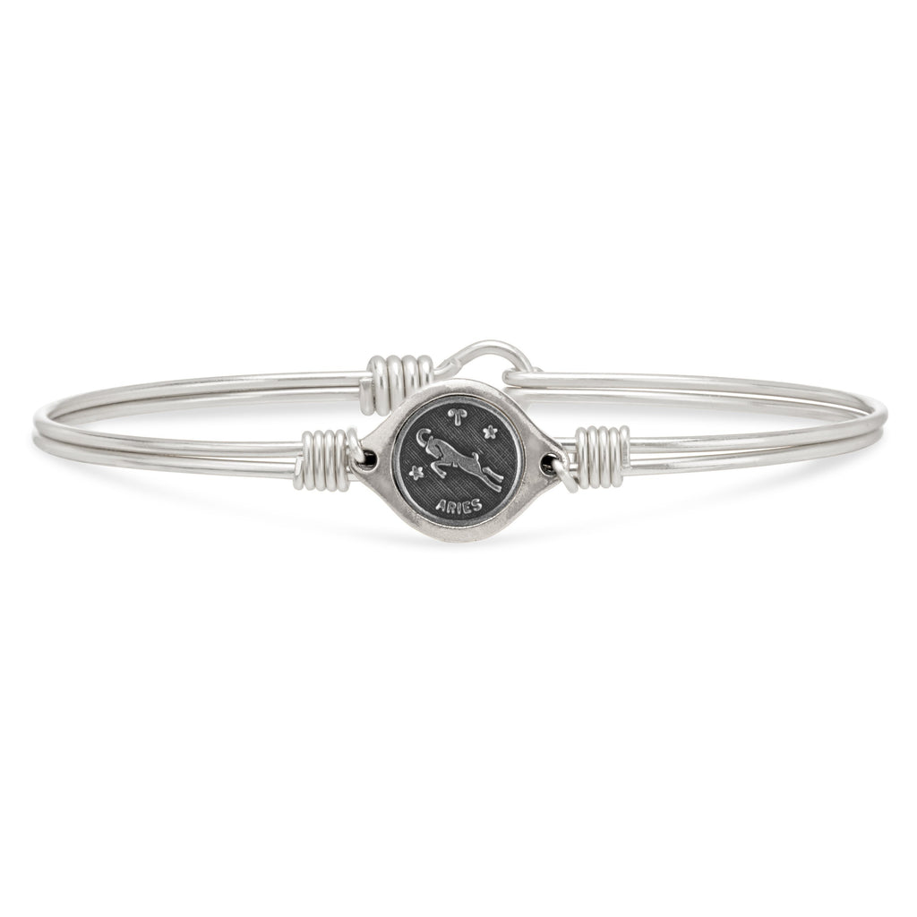 Aries Zodiac Bangle Bracelet finish:Silver Tone