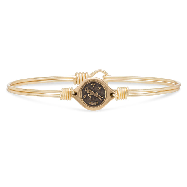 Aries Zodiac Bangle Bracelet finish:Brass Tone