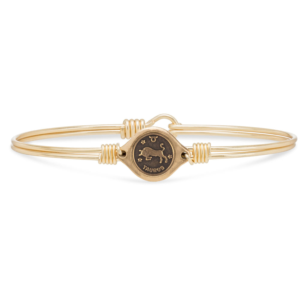 Taurus Zodiac Bangle Bracelet choose finish:Brass Tone